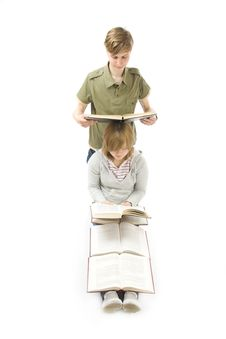 Free The Two Young Students Isolated On A White Stock Photos - 5505513