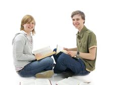 Free The Two Young Students Isolated On A White Stock Photo - 5505630