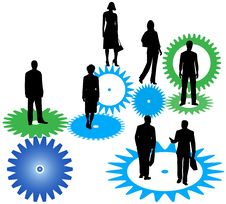 Free Business People And Cogwheels Stock Photography - 5506372