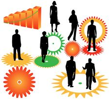 Free Business People, Graph And Cogwheels Royalty Free Stock Photography - 5506397