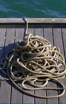Free Coiled Rope By Water Stock Photography - 5506992