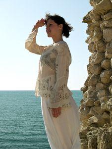Free Beautiful Girl Looks At Sea Stock Photography - 5507742