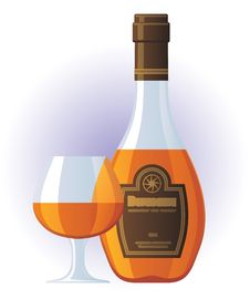 Free Cognac Bottle And Glass Royalty Free Stock Photography - 5507827