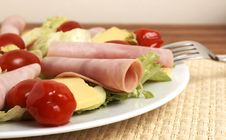 Fresh Salad With Cold Meat, Greens And Peppers Stock Photo
