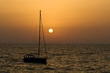 Sunset Sailing Stock Photo