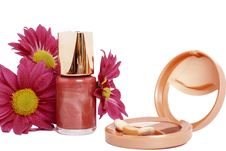 Nail Polish With Eyeshadows And Flowers Royalty Free Stock Images