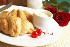 Free Croissant Breakfast With Glaze Cherries Stock Photo - 5508510