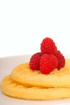 Free Breakfast Waffles With Fresh Raspberries On Top Royalty Free Stock Photos - 5508918