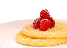 Plate Of Waffles With Raspberries