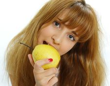 Free Beautiful Young Woman Looking At Apples. Royalty Free Stock Photo - 5509025