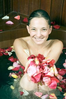 Woman At Spa Soaking In Large Bathtub - Close-up Stock Photography
