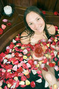 Free Woman With Flowers In A Tub - Vertical Royalty Free Stock Photos - 5510508