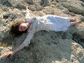 Free Young Barefoot Lady On Stone Beach Stock Images - 5513424