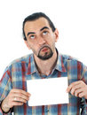 Free Man With Blank Sheet Stock Image - 5517741