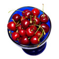 Free Ripe Sweet Cherries In Blue Cup Royalty Free Stock Photo - 5517975