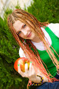 Free Girl With Red Apple Royalty Free Stock Photography - 5518607