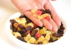 Free Candied Peel, Raisins, And Women S Hand. Royalty Free Stock Images - 5510129