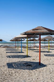 Free Umbrellas On A Beach Royalty Free Stock Photography - 5510167