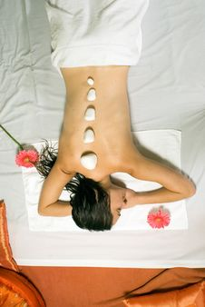 Free Woman Gets A Massage - Vertical Stock Image - 5510271