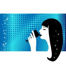 Free Beautiful Woman Drinking Wine Stock Photography - 5510602