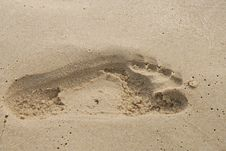 Free Footprint In The Sand Royalty Free Stock Image - 5511266