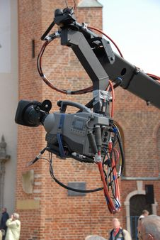 Camera On A Boom Arm Royalty Free Stock Photos