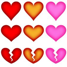 Free Heart Shape Icons - Buttons Royalty Free Stock Photography - 5511427