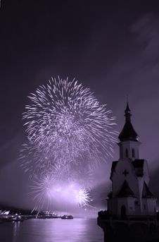 Firework And Church Royalty Free Stock Image