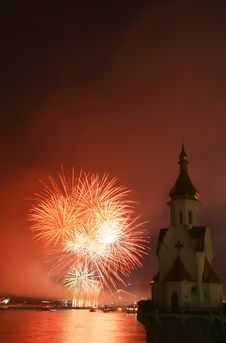 Free Firework And Church On River Stock Photos - 5512463