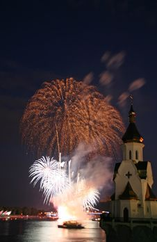 Firework And Church On River Royalty Free Stock Photography