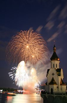 Firework And Church On River Stock Images