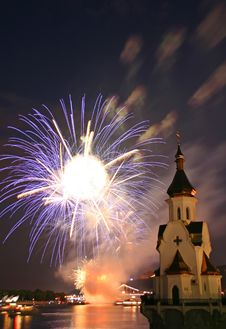 Firework And Church On River Stock Image