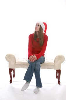 Free Pretty Teenage Girl In Santa Hat. Stock Photo - 5513010