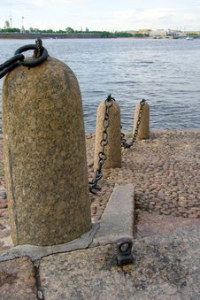 Free River Embankment With Wharf Chain Royalty Free Stock Image - 5514626