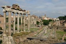 Free Roman Forum Panoramic View Royalty Free Stock Photography - 5515007