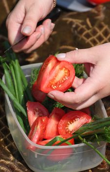 Free Hands Of The Girl Cut A Tomato Stock Photos - 5515193