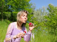 Free Young Woman Blows A Soap Bubbles Royalty Free Stock Photo - 5516165