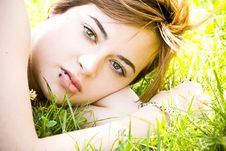 Free Blonde On Grass Royalty Free Stock Photography - 5517497
