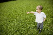 Boy Pointing At The Sky Royalty Free Stock Photography