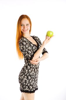 Free Green Apple And Girl Royalty Free Stock Image - 5518636