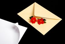Free Envelope With Flowers And Pen Stock Images - 5518774