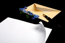 Free Envelope With Flowers And Pen Stock Image - 5518851
