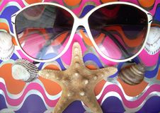 Free Solar Glasses And Different Seashells Royalty Free Stock Photography - 5519307