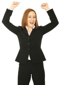 Free Business Woman Raise Hand Royalty Free Stock Photography - 5519487