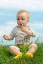 Free Little Baby  On Green Grass Stock Photography - 5521142