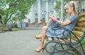 Free Blonde Girl Sit On Bench Royalty Free Stock Photos - 5521188