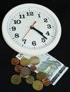 Free White Clock And Money On Black Background Stock Photos - 5521713