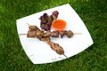 Free Kebabs On Sticks With Hot Sauce Royalty Free Stock Photography - 5527557