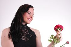 Free Woman With Rose Stock Image - 5520491