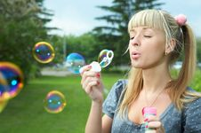 Free Young Girl Makes Soap Bubble Royalty Free Stock Photos - 5521038